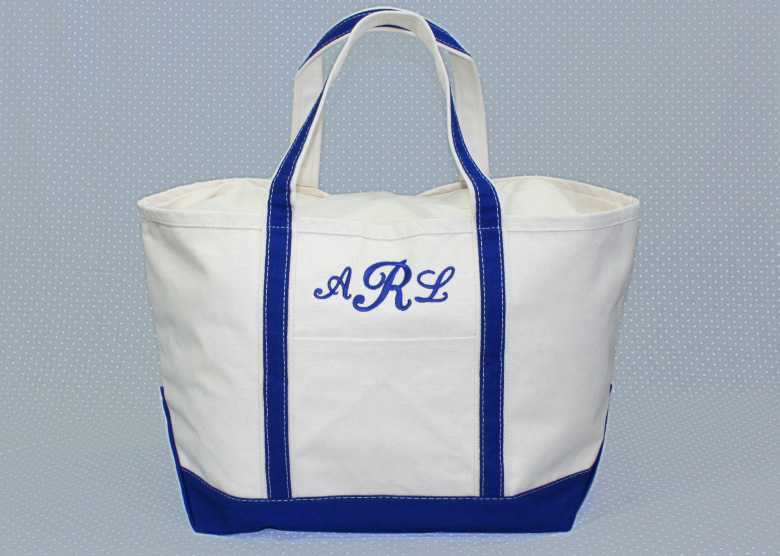 Royal Blue Large Canvas Tote-