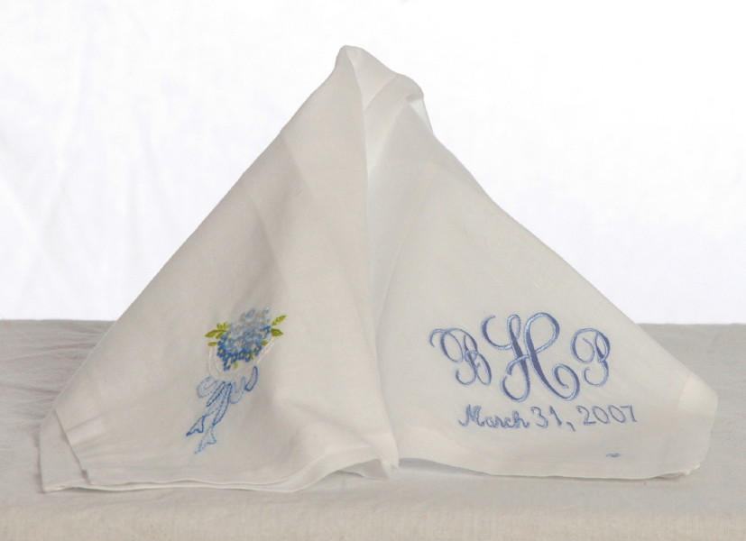 Monogrammed Bride's Hankie-Something Blue Bride's Monogrammed Hankie